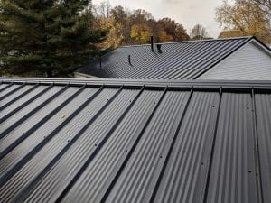 Black metal roof installed on home in Hilliard Ohio
