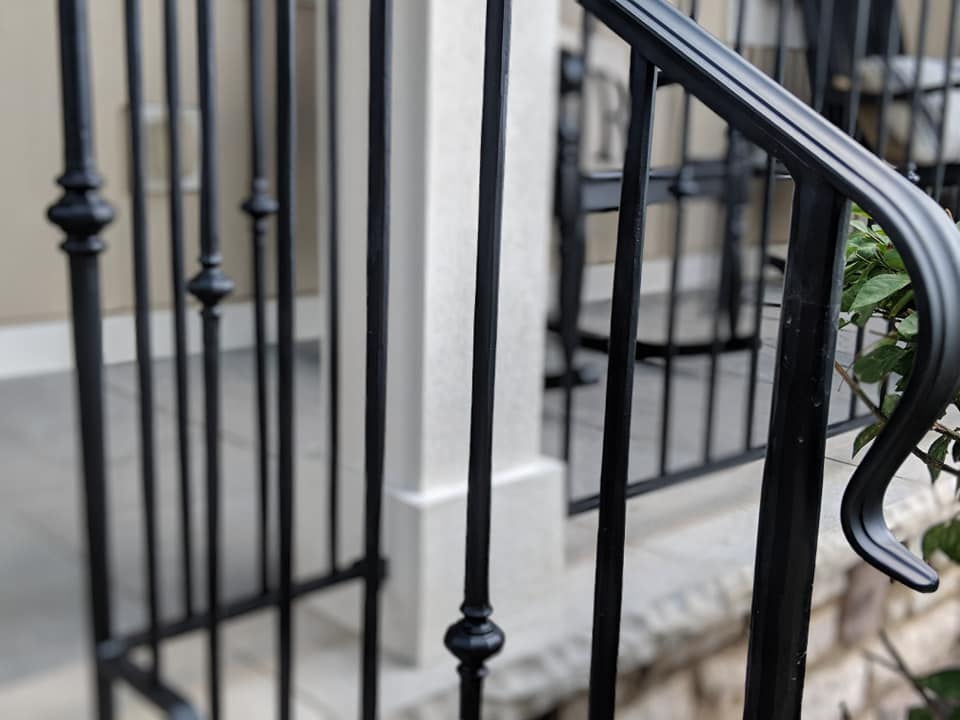 Wrought iron handrail on porch in Powell Ohio