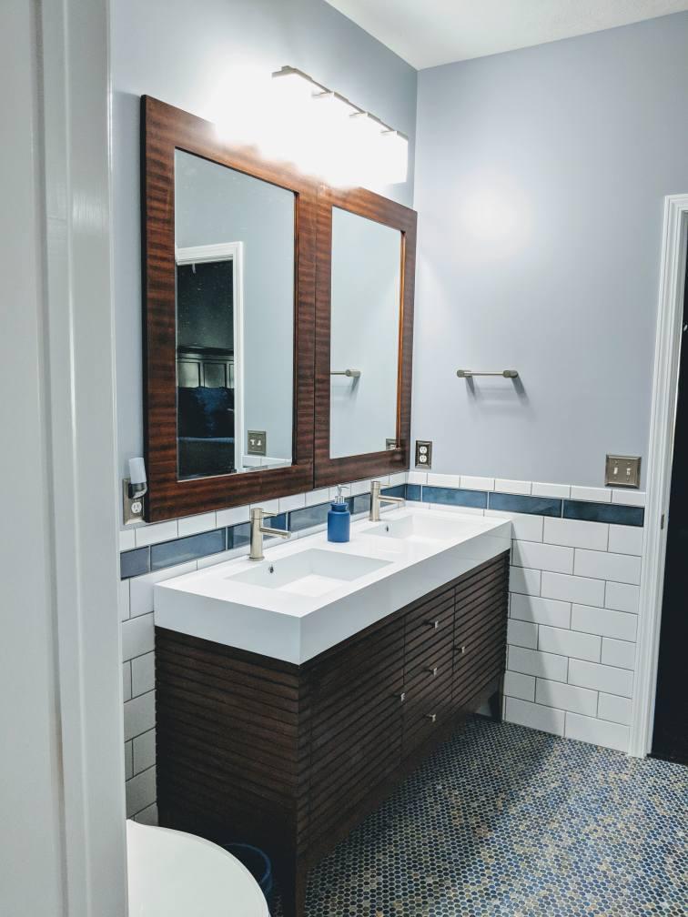 New vanity on a bathroom remodel in Hilliard, Ohio.