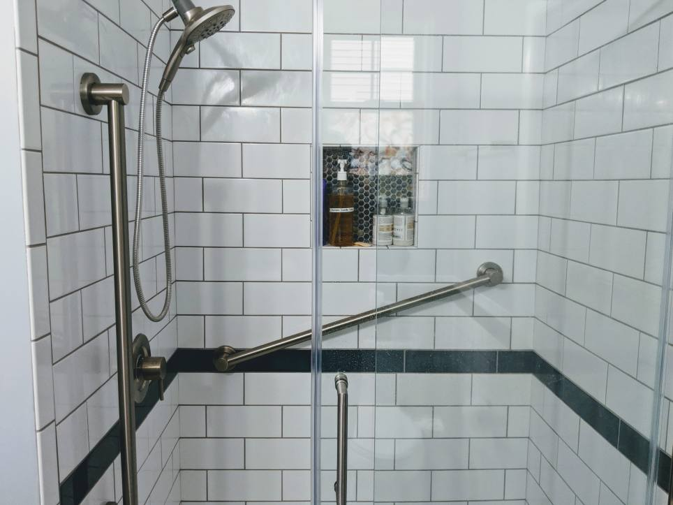 Shower remodel with new tile in Hilliard, Ohio.
