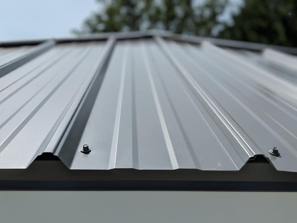 Roof of a white vinyl gazebo.